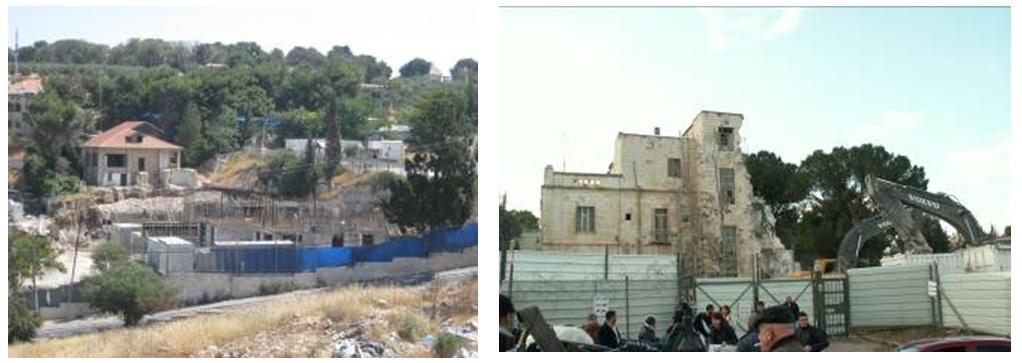 Construction next to Beit Orot in a-Sawana Demolition of Shepherd Hotel in Sheikh Jarrah