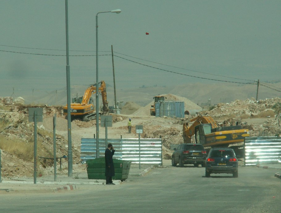 Construction at the new site in Adam settlement