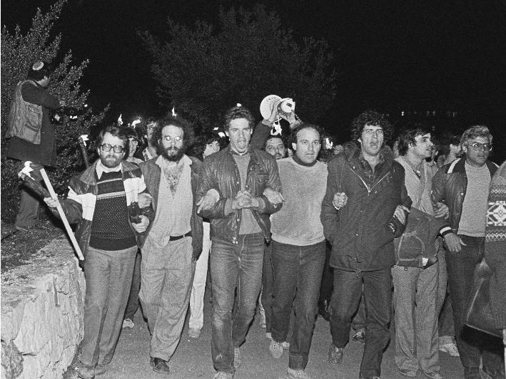 אמיל גרינצוויג בהפגנה בה נרצח