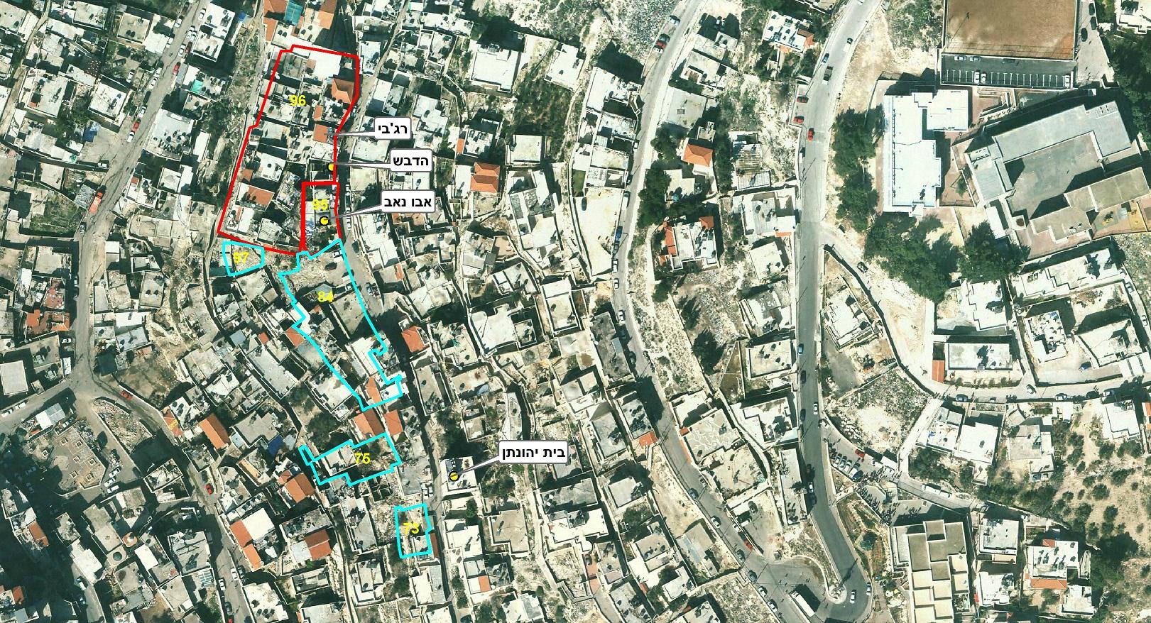 הנכסים של הקדש בנבנישתי (חלקות 95, 96) והחלקות הנוספות שקיבלו המתנחלים מהמדינה