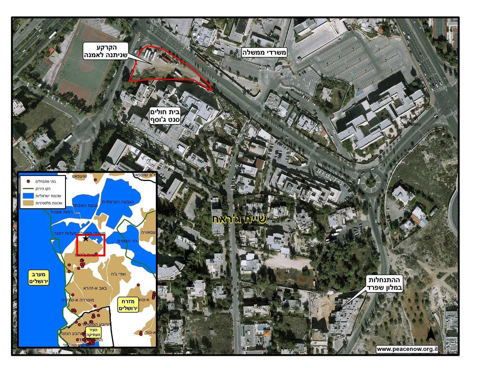 מפה של בית אמנה בשייח ג'ראח