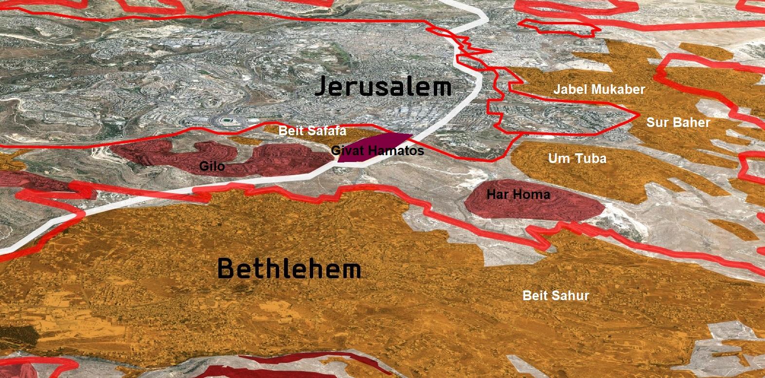 Givat Hamatos map מפת גבעת המטוס