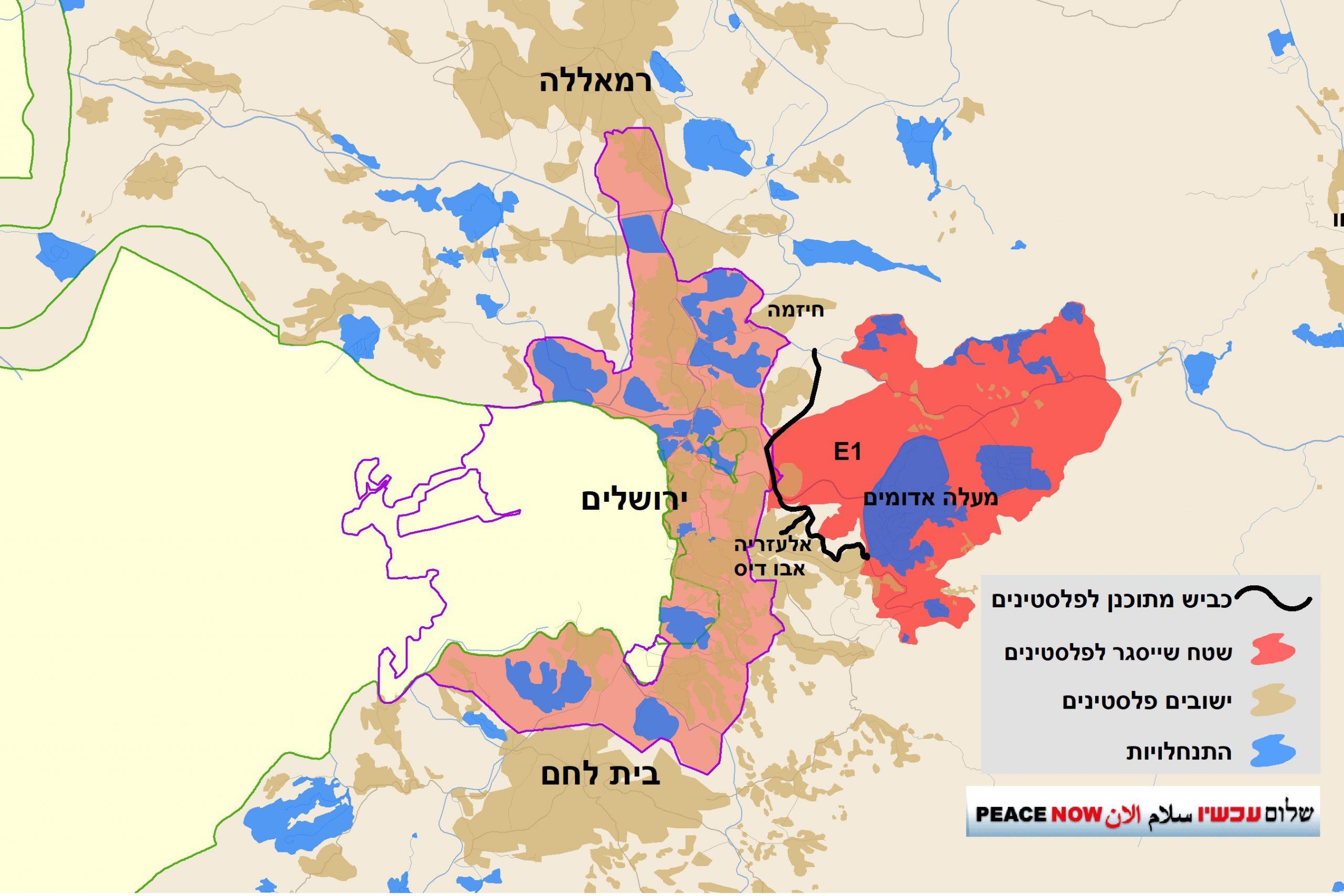 מפת כביש מרקם חיים אזעיים אלעזריה ושטח שייסגר לפלסטינים