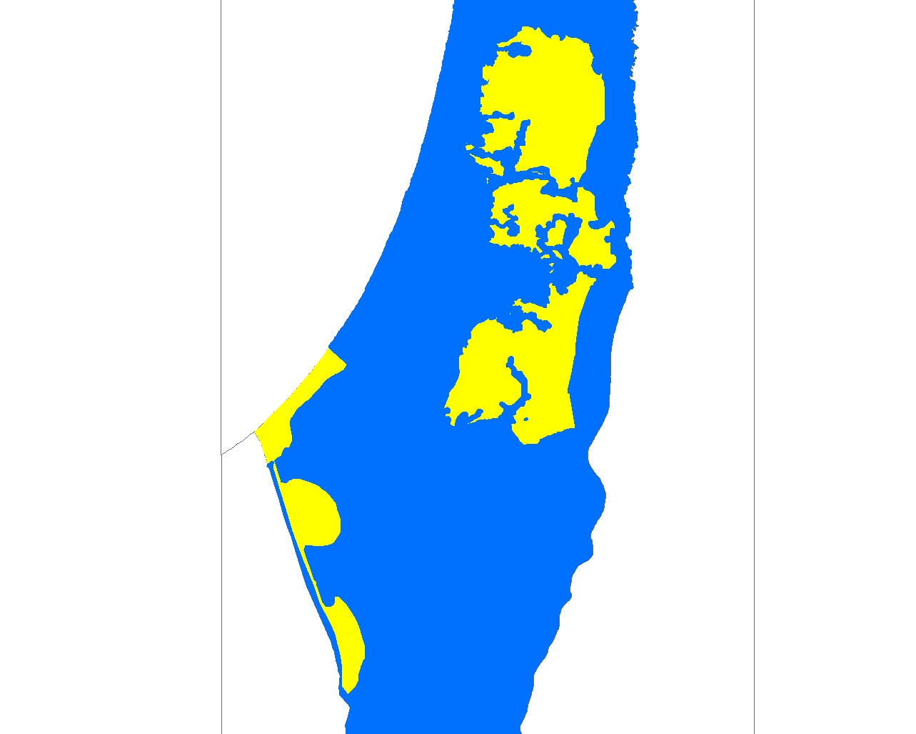 Trump Plan map of a Palestinian state (yellow)